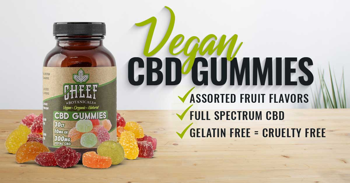 Vegan gummies with CBD product page banner