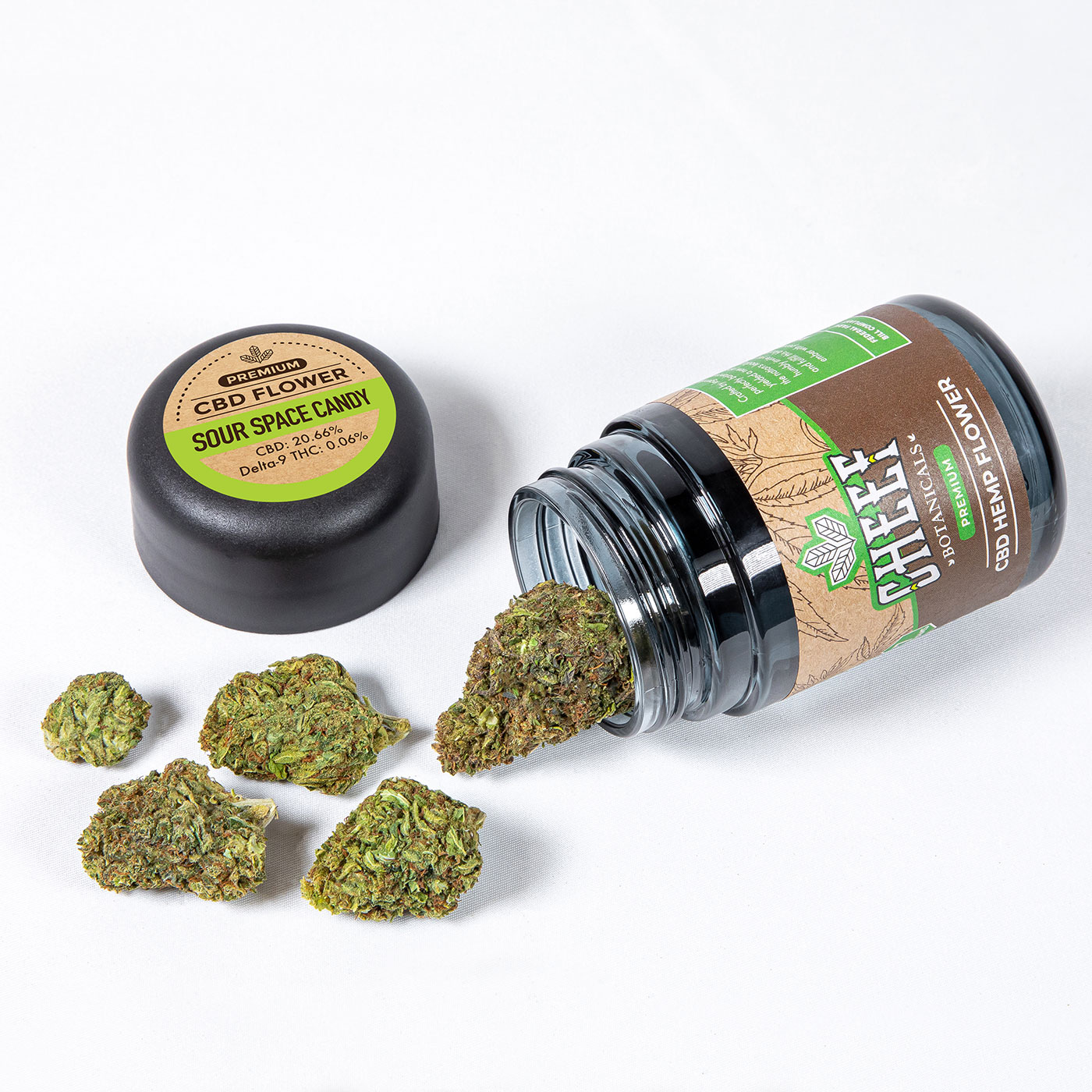 sour space candy cbd flower with jar