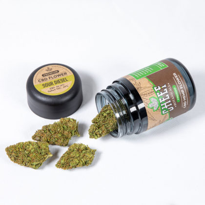 sour diesel cbd flower with jar