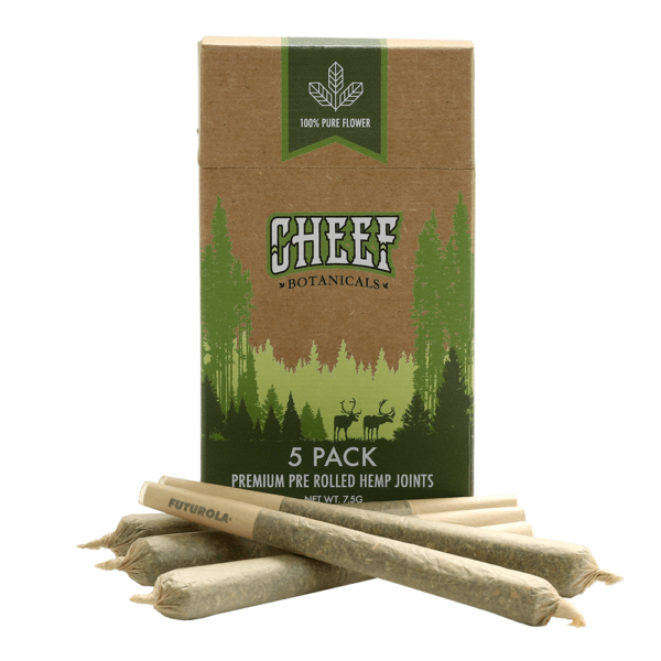 Cheef Botanicals CBD pre roll joints inin front of box
