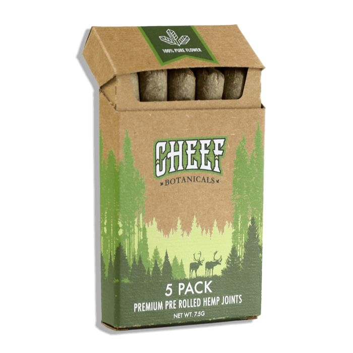 Cheef Botanicals pre rolled joints in a box