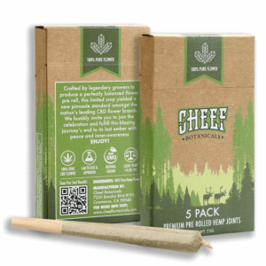 cheef botanicals cbd pre rolls joints front and back picture with one preroll
