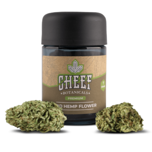 Cheef Botanicals CBD Hemp Flower Golden Sour Flower in Front of Jar