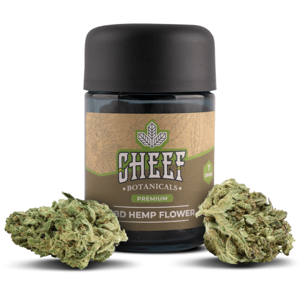 Cheef Botanicals CBD Hemp Flower OG Kush Jar With Flower in Front Of It