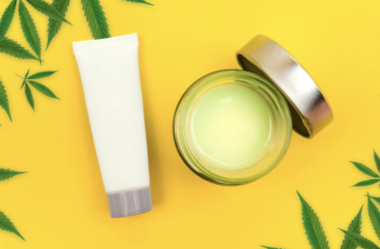 CBD Muscle Balm Pro Formula in a jar and bottle