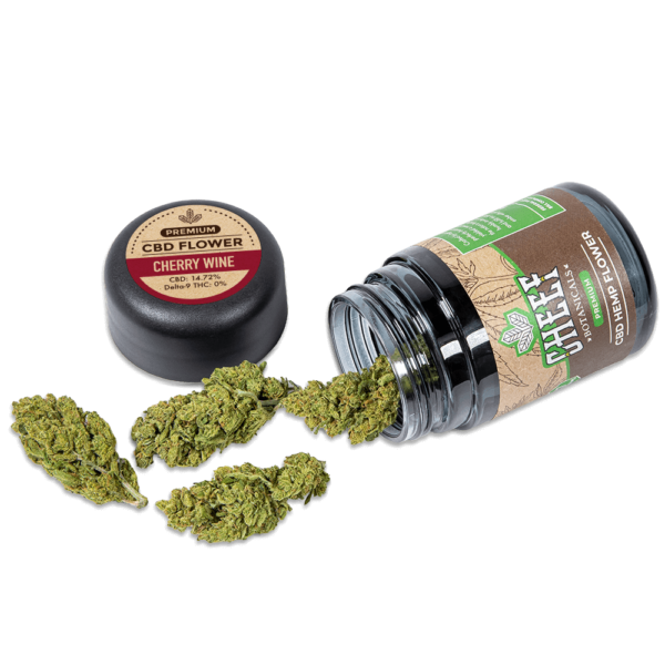 cherry wine cbd jar with flower