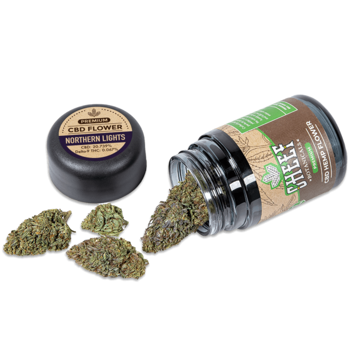 norhtern lights cbd flower with jar