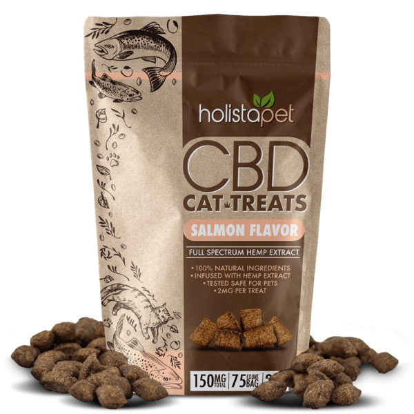 CBD cat treats next to bag
