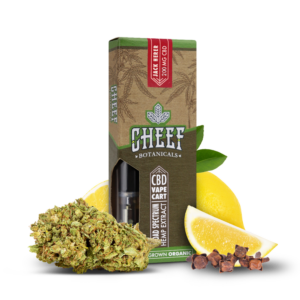 Cheef Botanicals CBD Vape Cart Jack Herer surrounded by nugs and lemons