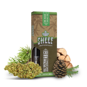 Cheef Botanicals CBD Vape Cart OG Kush with nugs and pinecones surrounding it