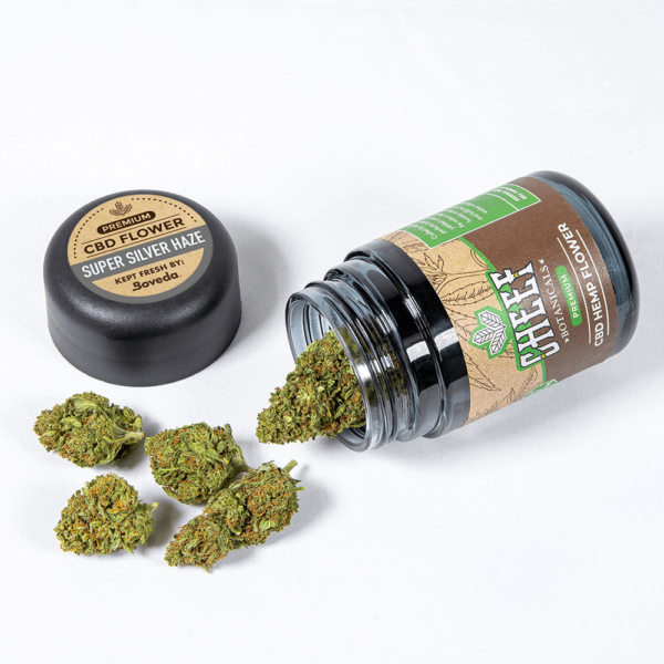 Super Silver Haze Spilled Product Showcasing Nugs