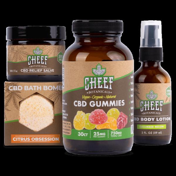 pamper bundle cbd products together