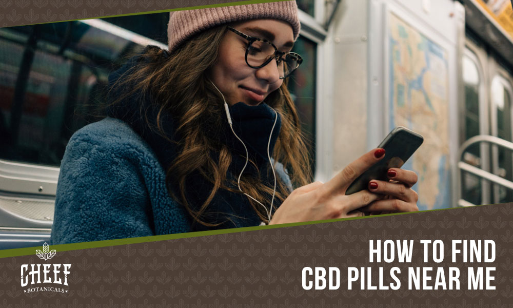 a woman using a phone to find cbd pills near me
