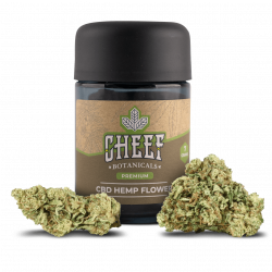 Cheef Botanicals CBD Flower Ceiba Fox Jar With Flower in Front on Jar