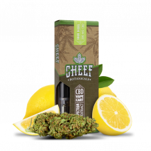Cheef Botanicals CBD Vape Cart Sour Diesel with nug and lemons surrounding it